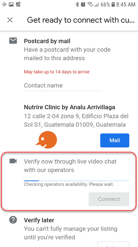 verify google my business account through video chat