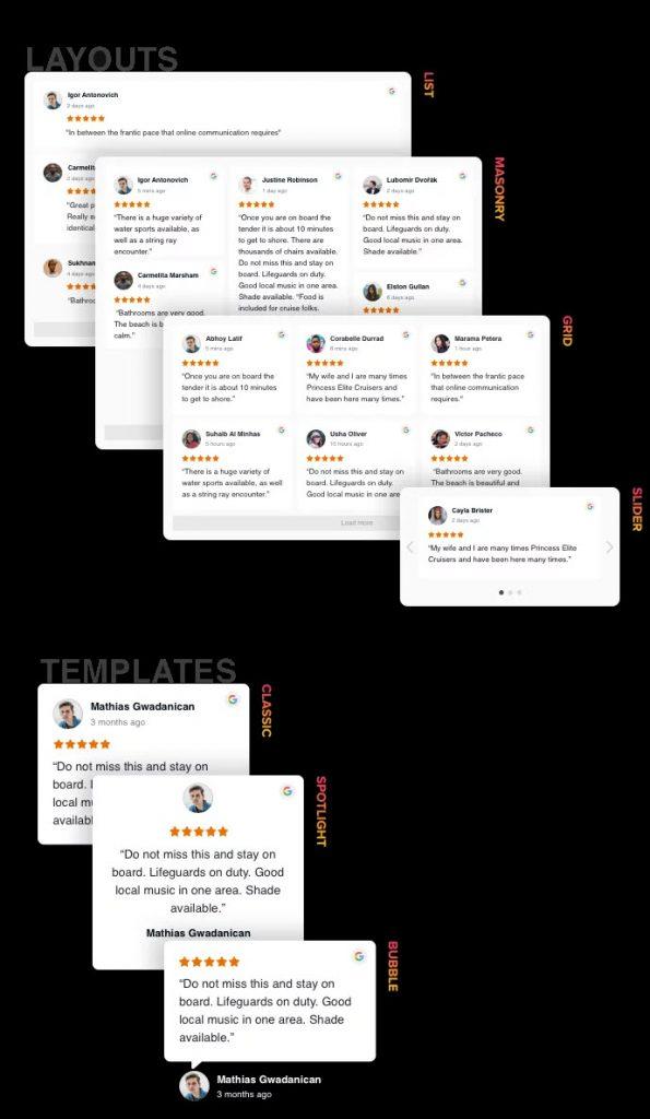 google reviews layouts and templates