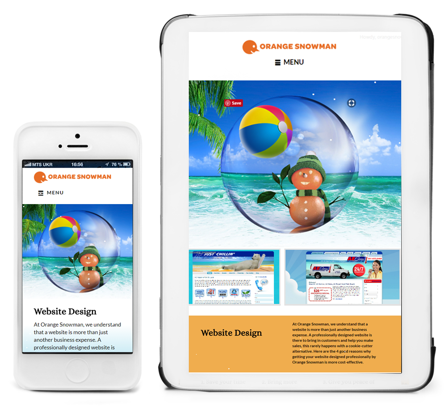 Orange Snowman affordable professional responsive web design. Martin County Florida: Stuart Palm City Jensen Beach Hobe Sound