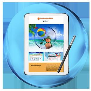 Responsive website in tablet with pen