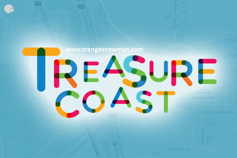 The Treasure Coast located on the east side of Florida, the Atlantic. It includes St. Lucie, the Indian River, Martin, as well as the counties of Palm Beach.