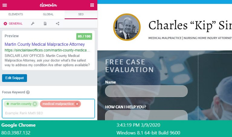 on-page optimization for medical malpractice martin county florida