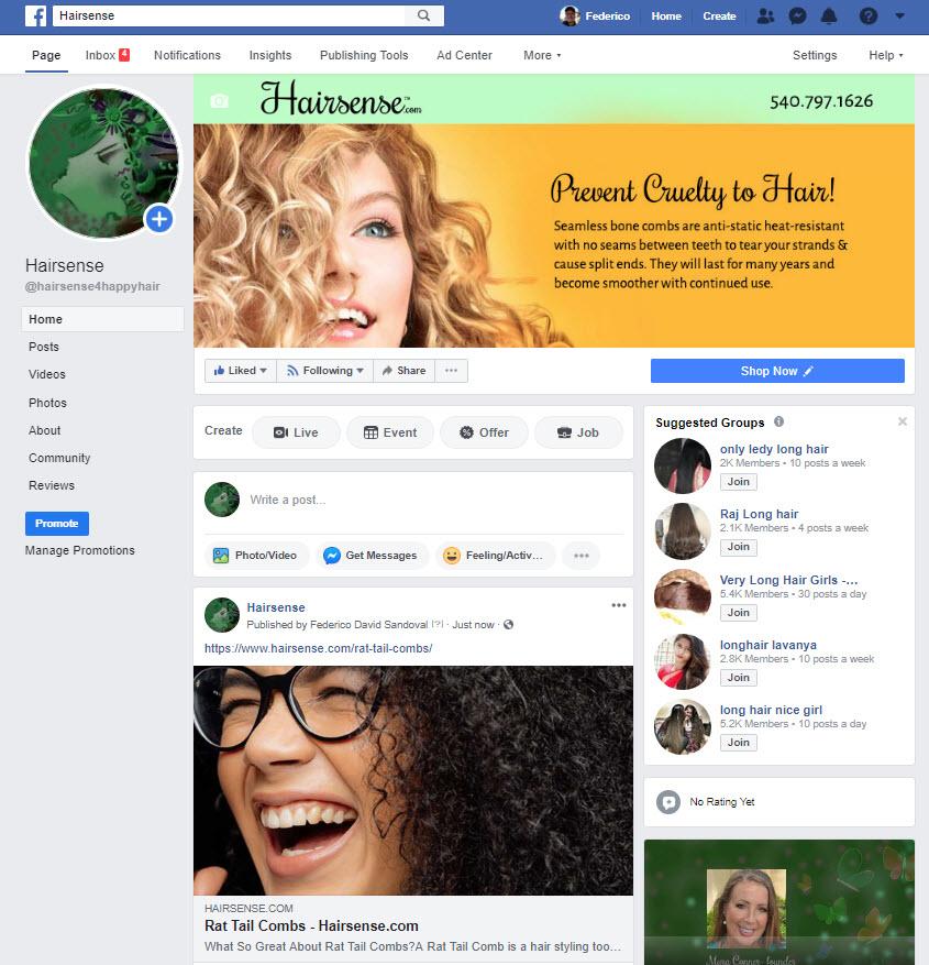Hairsense Facebook page