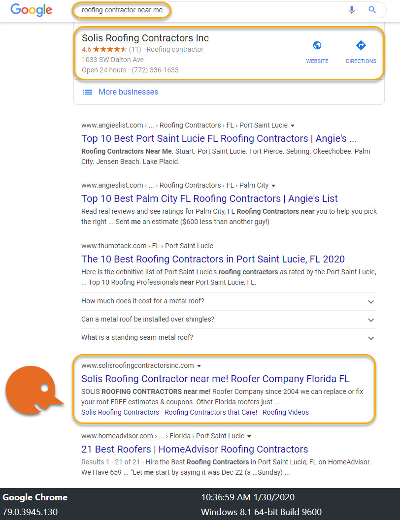 LOCAL SEO roofing contracr near me