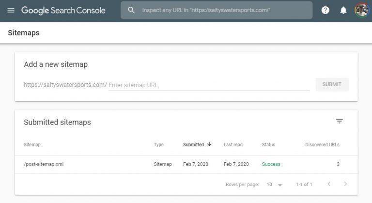 google console sitemap verification