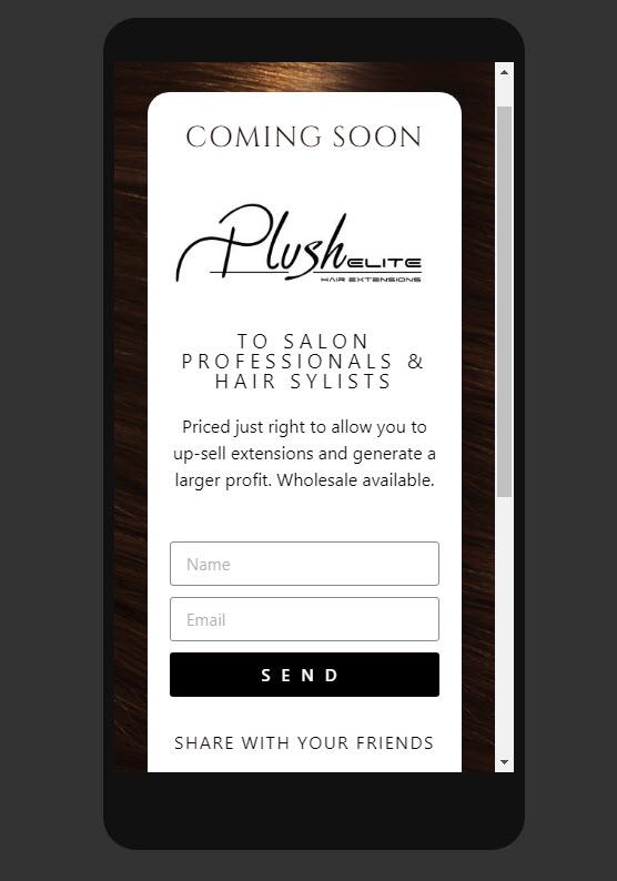 plush elite landing page smartphone