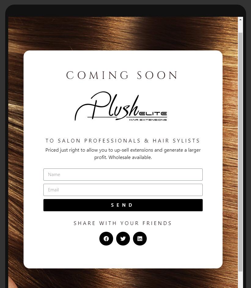plush elite landing page tablet