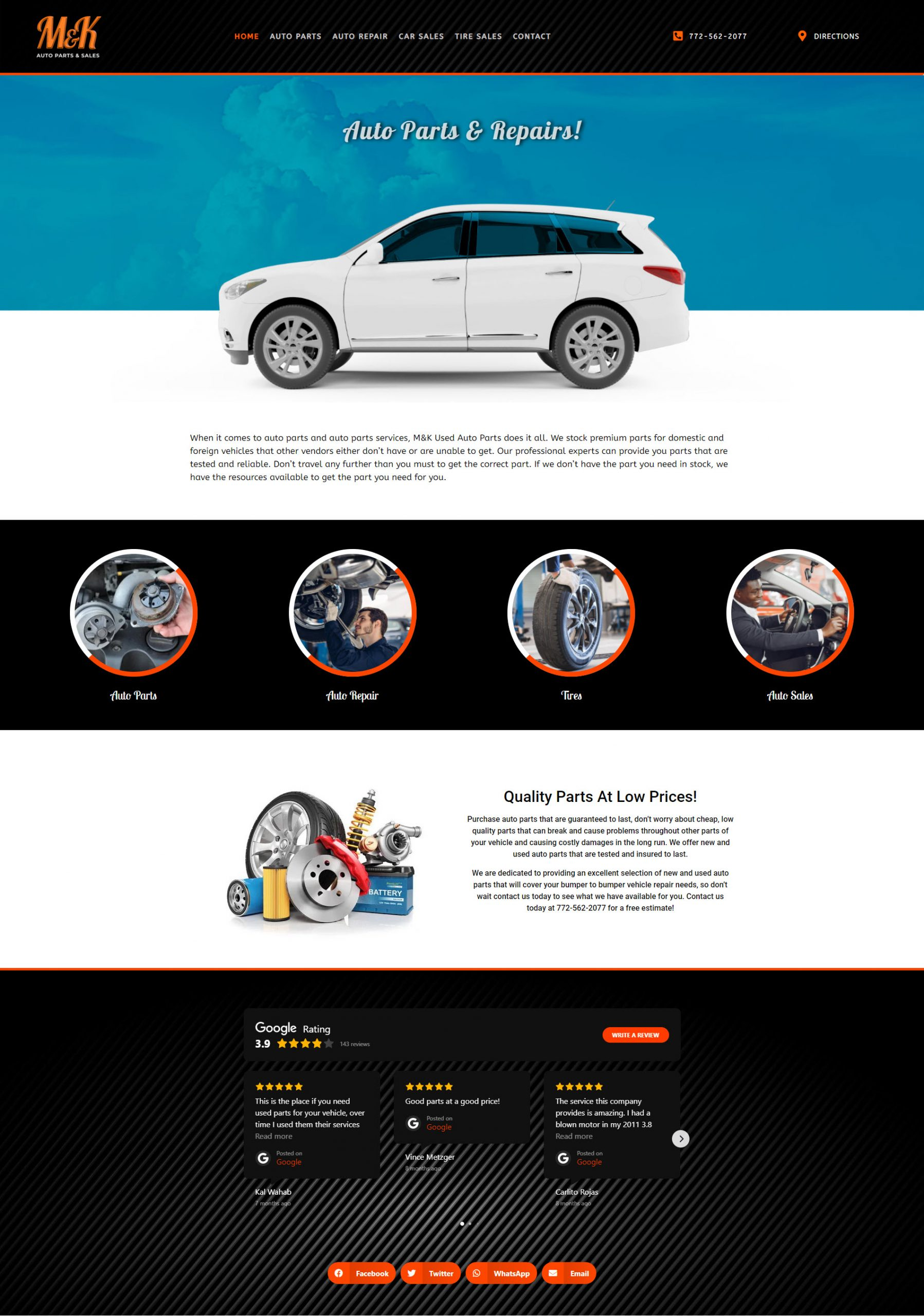 Website design auto parts